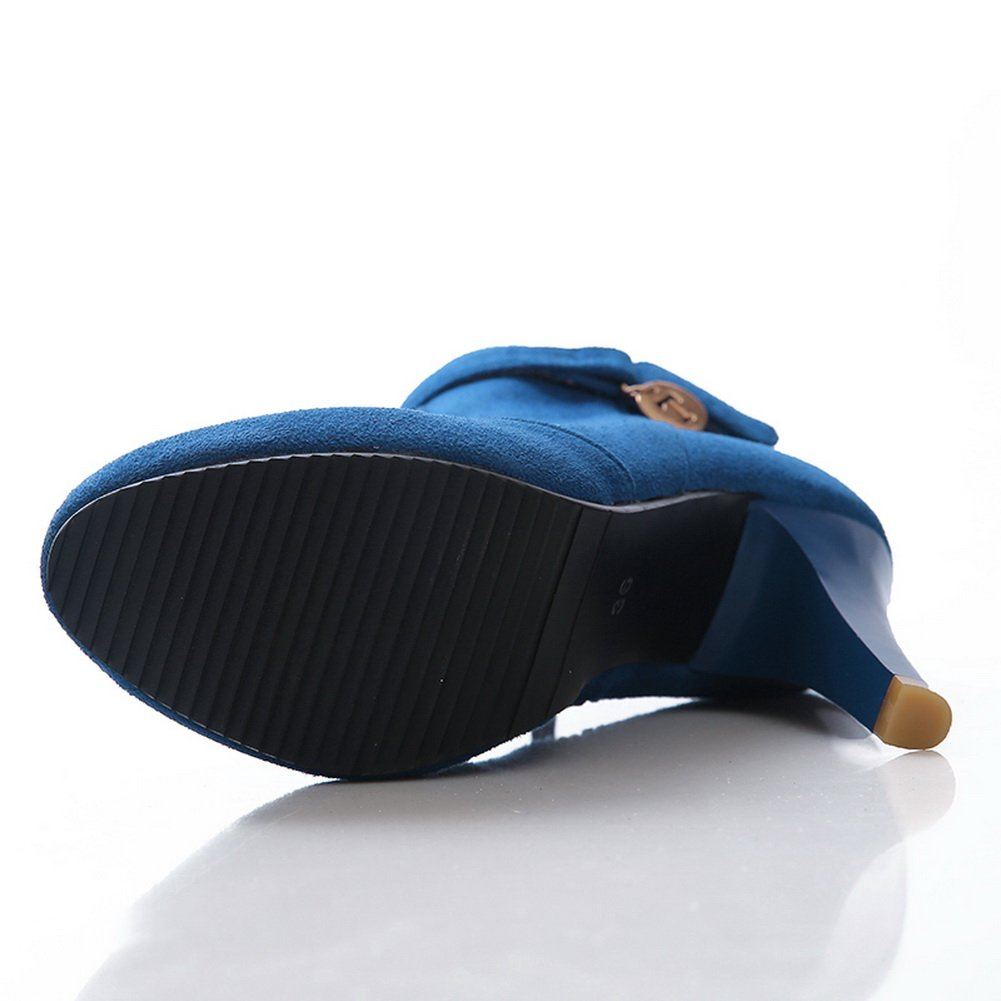 BalaMasa Girls Metal Ornament Zipper Wheeled Heel Shoes Imitated Suede Platform Boots B01L37DYAQ Platform Suede 04485e