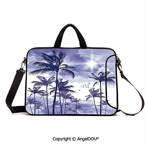 AngelDOU Laptop Shoulder Bag Waterproof Neoprene Computer Case Exotic Tropical Tall Palm Trees at Beverly Hills Sunset on Windy Day Abstract Ar with Handle Adjustable Shoulder Strap and External Sid