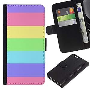 Be Good Phone Accessory // Caso del tirón Billetera de Cuero Titular de la tarjeta Carcasa Funda de Protección para Apple Iphone 6 PLUS 5.5 // Stripes Summer Sun Pink Purple