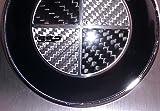 2X 82mm Real Carbon Fiber Black/Silver Hood Trunk Emblem Round Logo for BMW