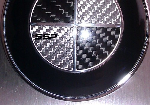 2X 82mm Real Carbon Fiber Black/Silver Hood Trunk Emblem Round Logo for BMW (E36 M3 Trunk Badge)