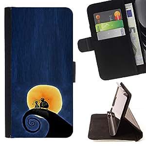 Momo Phone Case / Flip Funda de Cuero Case Cover - Surf Surf Wave Luna Blue Night - Apple Iphone 5C