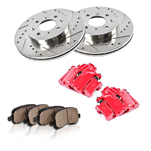 (FRONT Powder Coated Red [2] Calipers + [2] Rotors + Quiet Low Dust [4] Ceramic Pads Performance Kit)