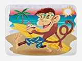 Ambesonne Tropical Animals Bath Mat, Hipster Monkey with Surfboard and Glasses Drinking on Beach in Sunny Day Kids, Plush Bathroom Decor Mat with Non Slip Backing, 29.5 W X 17.5 W Inches, Multi