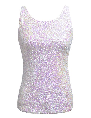 PrettyGuide Women Shimmer Glam Sequin Embellished Sparkle Tank Top Vest Tops ,White,Us Size -Medium, Asian Size- L