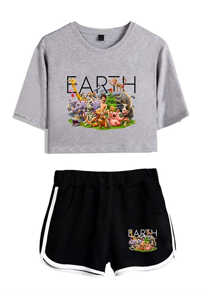 AMOMA Girls Women Lil Dicky Earth Crop Top T-Shirt and Shorts Cartoon Animals Two Pieces Sets Tracksuit