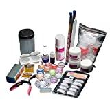 AMA(TM) 19 Acrylic Nail Art Tips Powder Liquid Brush Glitter Clipper Primer File Set Kit Manicure Salon Tips Decoration (19pcs)
