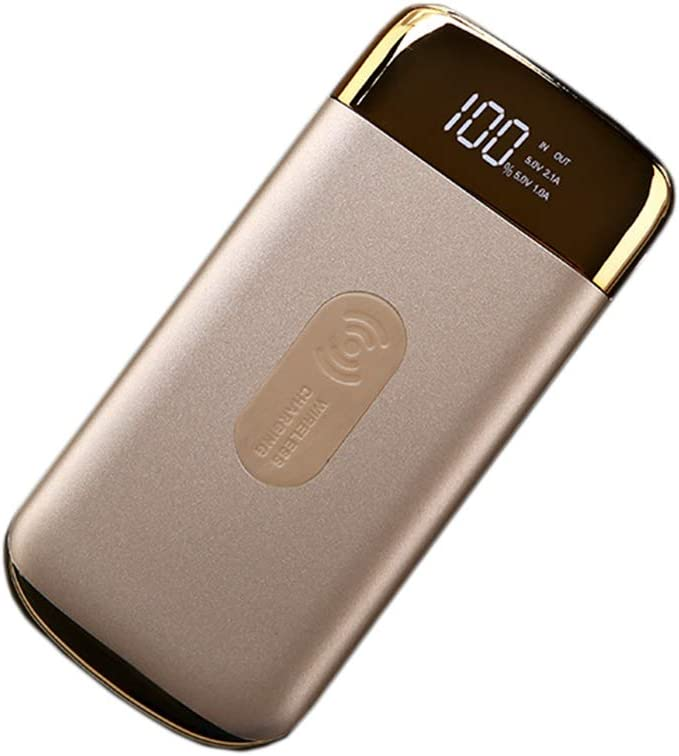 MYYING ELE Qi Wireless Power Bank 10000MAH,High Capacity External Battery Pack with LED Indicator,Compatible with iPhone XR/XS/XS MAX/X,Samsung Galaxy S9 and More Devices, Gold: Amazon.es: Deportes y aire libre