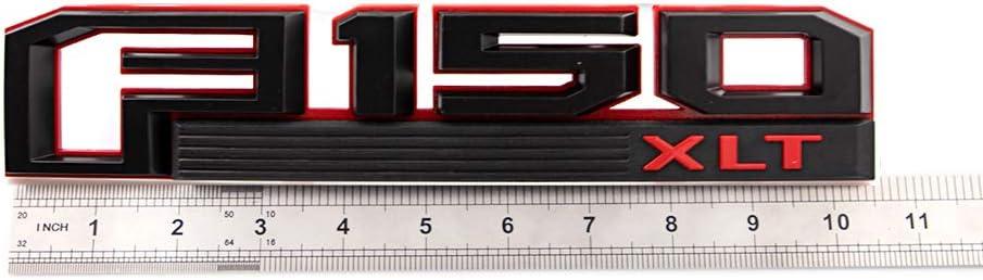 1 Set F150 XLT Emblems Fender Sticker Rear Tailgate Badge Nameplate Fit For 2015~2017 F150 Black-red