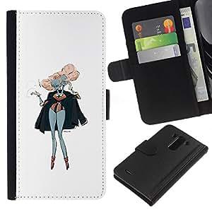 Be-Star la tarjeta de Crédito Slots PU Funda de cuero Monedero caso cubierta de piel Para LG G3 ( Pink Hair Siamese Twins Art Painting Outfit )