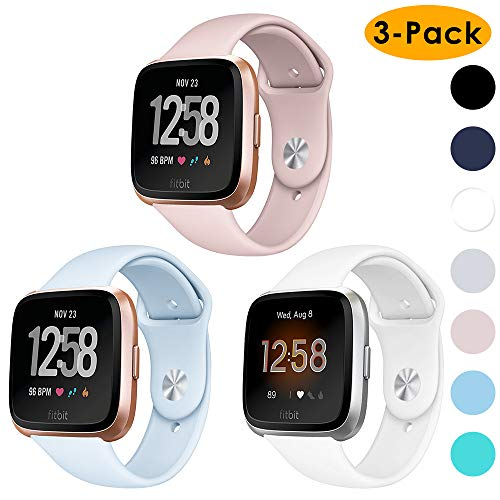 EZCO Compatible Fitbit Versa Lite Edition/Versa Bands (3-Pack), Waterproof Soft Silicone Sport Watch Strap Quick Release Replacement Wristband Accessories Compatible Fitbit Versa Watch Women Man