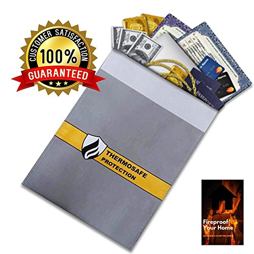 Fireproof Document Storage Bag by DocuBank - 15x11 Double Layer Heat & Water Resistant Protection | FIRE SAFETY EBOOK INCLUDED | Money, Firearms, Personal Items, Valuables, Lipo Battery - Hutch Plus Storage