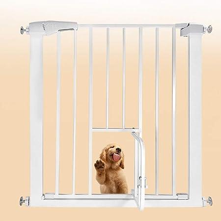 QIANDA Barrera de Seguridad Bebé Puerta de la Escalera con Puerta De Gato Puertas De Escalera