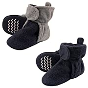 Hudson Baby Cozy Fleece Booties with Non Skid Bottom, 2 Pack, Navy /Gray, 0-6 Months