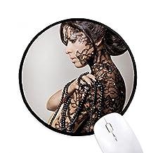 Religión Nude cuerpo de belleza morena Gal redondo antideslizante Mousepads negro titched bordes juego regalo de oficina