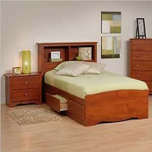 prepac monterey cherry twin wood platform storage bed 3 piece bedroom set kitchen
