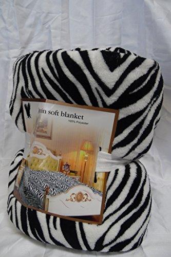 Gorgeous Home WHITE BLACK ZEBRA KING SOFT ANIMAL PRINT BLANKET ULTRA MICROPLUSH FLEECE SUPER WARM 80