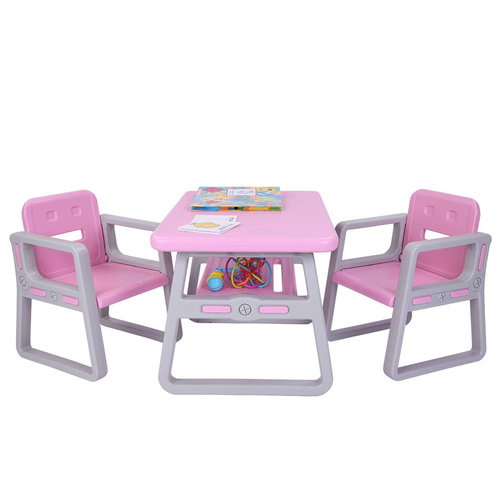 JOYMOR Multipurpose Kids Table and Chair Set, Certified Safe and Easy-Clean 3-Piece Kids Furniture Set, Includes 1 Activity Table with Storage Space & 2 Chairs,Kiddie-Sized Plastic Furniture (Pink) by JOYMOR