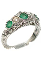 925 Sterling Silver Natural Emerald and Cultured Pearl Womens Band Ring - Sizes 4 to 12 Available