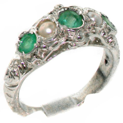 Luxury 925 Solid Sterling Silver Natural Emerald & Cultured Pearl Victorian style Eternity Ring - Size 7.75 - Finger Sizes 4 to 12 Available - Suitable as an Eternity, Engagement, Promise or Anniversary Ring