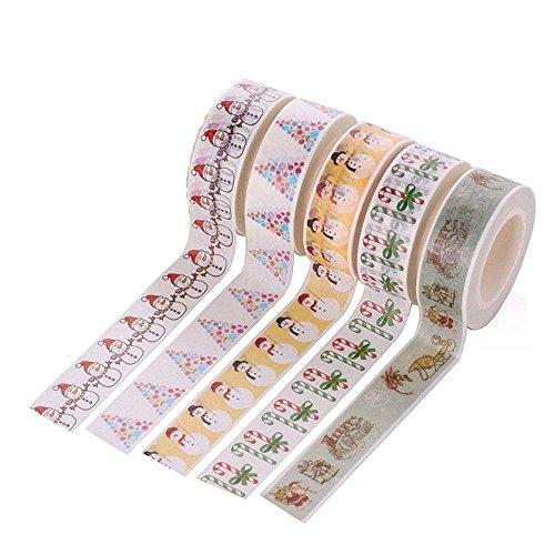 Tjcmss 5rouleaux de décoratifs Washi Ruban adhésif de masquage Collection Art Craft DIY Scrapbooking Autocollant