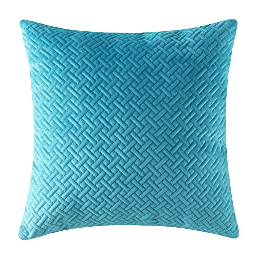 Artcest Decorative Velvet Bed Throw Pillow Case, Sofa Soft Quilted Pattern, Comfortable Couch Cushion Cover, 24