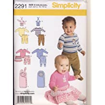 Simplicity Sewing Pattern 2291 - Use to Make - Baby Clothes and Bunting - Pants, Bodysuit, Skirt, Bib - Sizes XXS - L (7 - 24 pounds)
