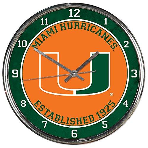Miami Hurricanes NCAA 12 Inch Round Chrome Plated Wall (Miami Hurricanes Clock)