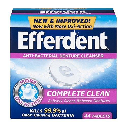 Denture Plus Efferdent Cleanser Tablets (Efferdent Anti-Bacterial Denture Cleanser Complete Clean 44 Tablets)