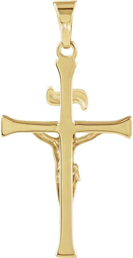 14K Yellow Gold 24.5x16mm Crucifix Pendant