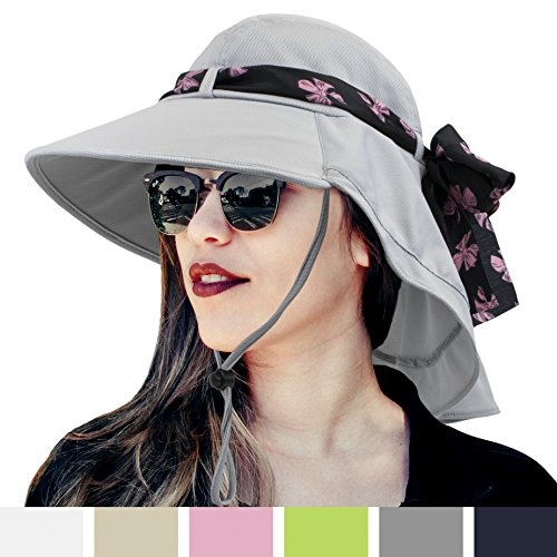 Womens Sun Hat, Summer UV Protection Outdoor Hat with Wide Brim, Neck Cover Flap, and Adjustable Chin Strap | UPF50 + Breathable Foldable Ladies Cap for Gardening, Hiking, Fishing (Garden Cap)