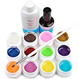 Warm Girl Glittery 12 Uv Gel Builder Nail Art Cleanser Plus Top Coat Set Tips Kit