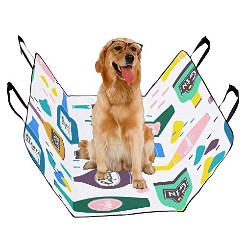 ord Pet Car Seat Wine Bottle Cartoon Exquisite Design Retro Noble and Lovely Waterproof Nonslip Canine Pet Dog Bed Hammock Convertible for Cars Trucks SUV ()