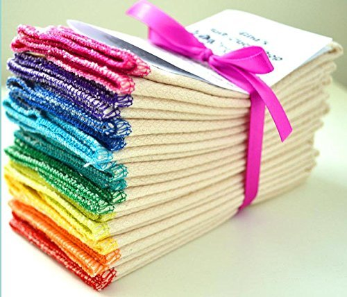 2 Ply 11x12 Inches White Cotton Birdseye Paperless Towel Set of 10 Rainbow Edging