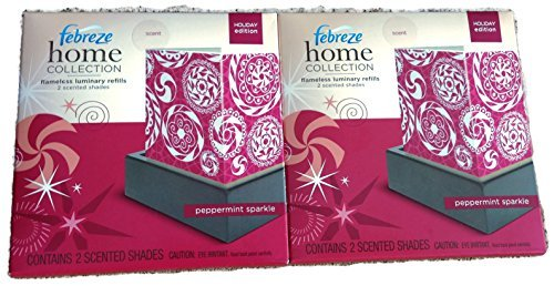 Febreze Home Collection Flameless Luminary Refill - 4 Scented Shades - 2 Packages - Peppermint Sparkle