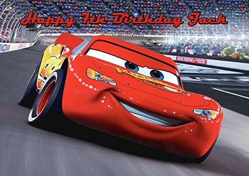 Surprising Cars Lightning Mcqueen A4 Icing Sugar Paper Birthday Cake Topper Funny Birthday Cards Online Ioscodamsfinfo