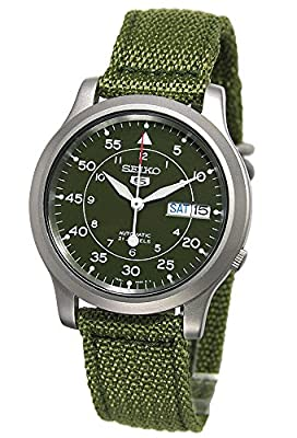 Seiko Men's SNK805 Seiko 5 Automatic Stainless Steel Watch with Green Canvas by Seiko