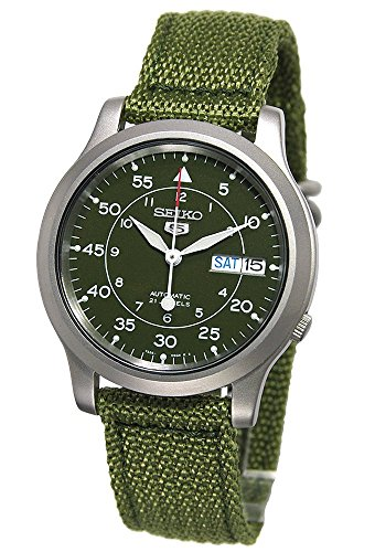Manual Wind Wrist Watch - Seiko Men's SNK805 Seiko 5 Automatic Stainless Steel Watch with Green Canvas