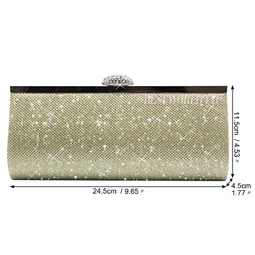 Black Bag Silver Bridal Evening Gold Sparkly Party Clutch Glitter Wocharm Gold Synthetic Womens Prom Bag vp0q0Xz