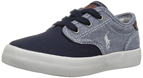 Sneakers Canvas Lauren Ralph - Polo Ralph Lauren Kids Boys' Lewis Sneaker, Blue Chambray-Navy Canvas, 7 Medium US Big Kid