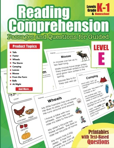 5: Reading Comprehension Passages and Questions for Guided: Level E Guided Reading Comprehension Books Passages and Questions for Homeschool, Kindergarten, 1st Grade (Volume 5)