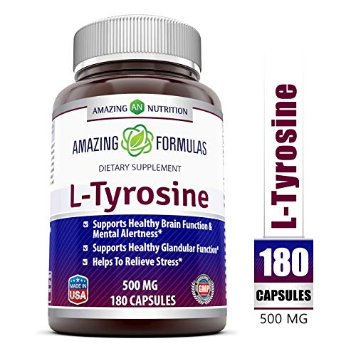 Amazing Formulas L Tyrosine - 500 mg, 180 Capsules - Supports Mental Alertness, Energy, Focus, Healthy Glandular Function and Balance (Proper Nutrition Improves A Persons Mental Alertness)