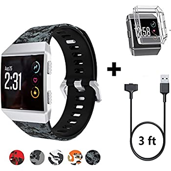 HK Replacement for Fitbit Ionic Watch Bands for Men Silicone Smart Watch Wristband Replacement with TPU Shockproof Clear Cover Case Protector and Charging ...