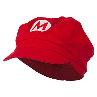Circle Mario and Luigi Embroidered Cotton Red Newsboy Cap - Red M-L ... 094eea3de541
