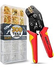 BAURIX® krimptang met 300 stuks platte kabelschoenen set I krimptang voor 0,50-2,50 mm² connectoren I kabelschoentang, steekhulstang, platte steekhulzen assortiment