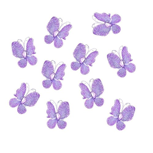 Wired Butterflies Stocking Mesh Set of 50 (Purple) - 1