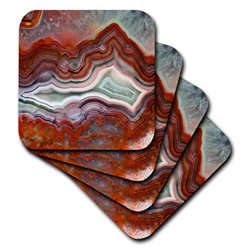 (3D Rose Mexican Crazy Lace Agate Soft Coasters,)