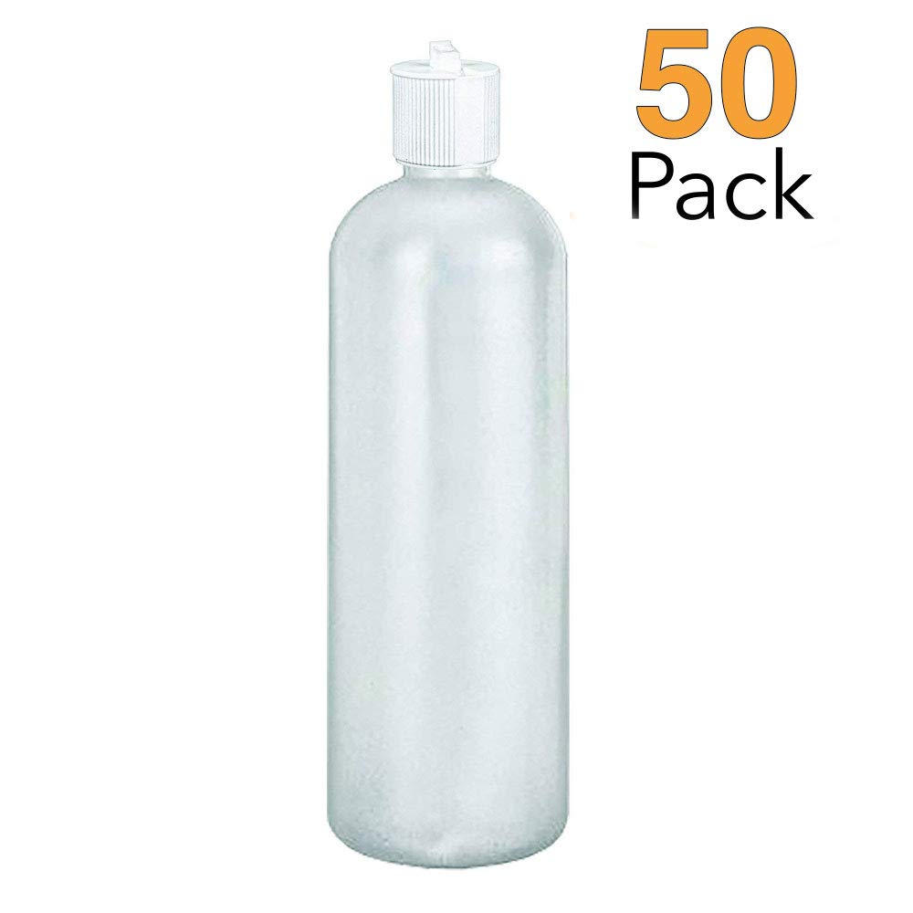 MoYo Natural Labs 16 oz Squirt Bottles, Squeezable Refillable Containers Turret Caps, BPA Free HDPE Plastic for Essential Oils and Liquids, Toiletry Cosmetic Bottles Pack of 50, Translucent White