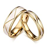 Mrsrui Novelty Gold Plated 8MM Men Women Titanium Stainless Steel Couple Wedding Bands for Him and Her