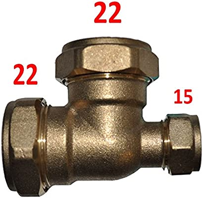 22mm x 22mm x 15mm Compression Reducing Tee Brass